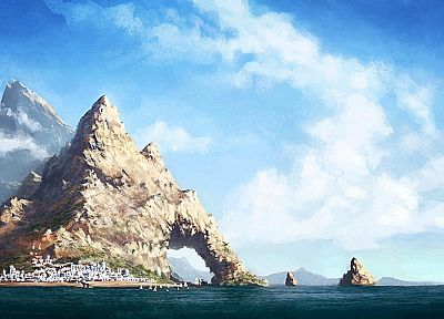 landscapes, nature, islands, Greece, artwork, arches - related desktop wallpaper