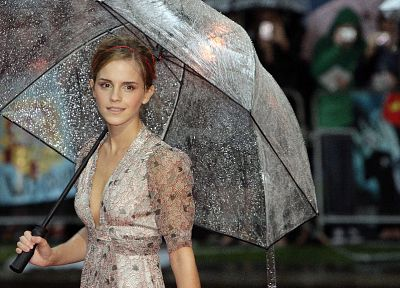 women, Emma Watson, umbrellas - related desktop wallpaper