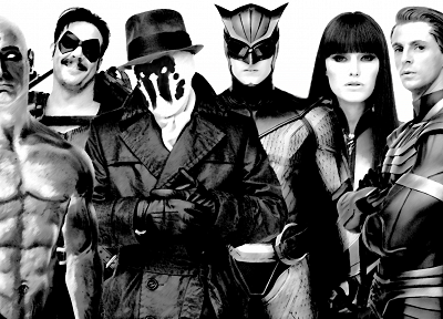 Watchmen, movies, Rorschach, Silk Spectre, Malin Akerman, monochrome, The Comedian, Nite Owl, Ozymandias, Dr. Manhattan - random desktop wallpaper