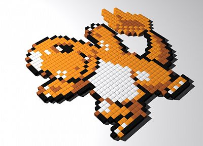 Pokemon, blocks, pixel art, Charmander - desktop wallpaper