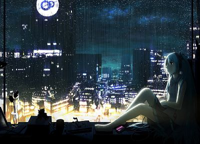 Vocaloid, night, rain, Hatsune Miku, aqua hair, anime girls, cities, rain on glass - related desktop wallpaper