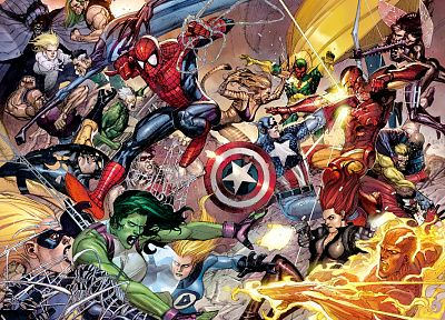 Iron Man, Spider-Man, Captain America, She-Hulk, Mr. Fantastic, Human Torch, Sue Storm, Marvel, Cloak and Dagger - desktop wallpaper