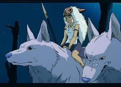 Hayao Miyazaki, Princess Mononoke, Studio Ghibli, anime, spears, wolves, San (Princess Mononoke) - desktop wallpaper