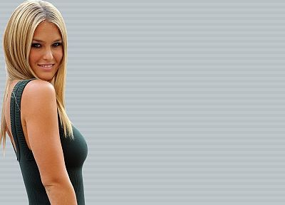 brunettes, blondes, women, dress, models, Bar Refaeli, smiling - random desktop wallpaper