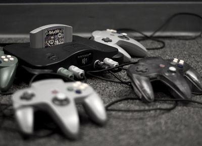 Nintendo, carpet, Super Smash Bros, monochrome, gamepad, controllers, Nintendo 64 - desktop wallpaper