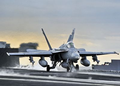 carrier, airplanes, take off, F-18 Hornet, jet aircraft - random desktop wallpaper