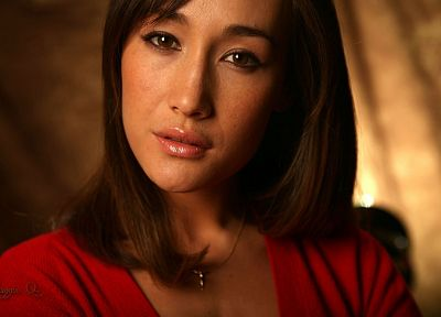 women, red, actress, Maggie Q - random desktop wallpaper