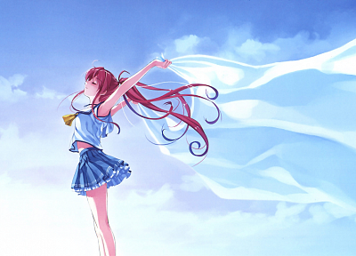 school uniforms, Misaki Kurehito, anime girls, Suiheisen made Nan Mile?, Miyamae Tomoka, skies - random desktop wallpaper