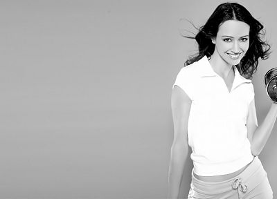 women, Amy Acker, grayscale, fitness, weights - related desktop wallpaper