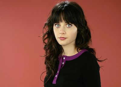 women, red, Zooey Deschanel, red background - random desktop wallpaper