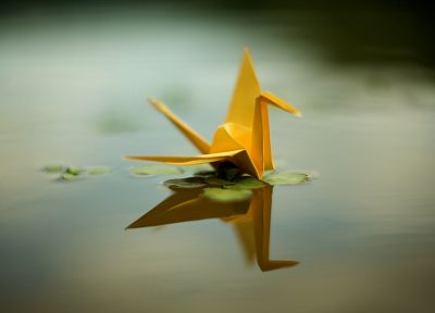 origami, yellow, ponds, sepia, cranes - random desktop wallpaper
