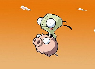 clouds, Invader Zim, pigs, Gir - desktop wallpaper