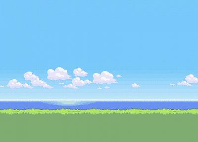 clouds, landscapes, pixel art, artwork - desktop wallpaper