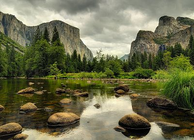 mountains, clouds, landscapes, nature, trees, forests, rocks, reflections - related desktop wallpaper