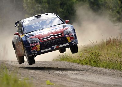 jumping, dust, rally, racing, Citroen C4 WRC, rally cars, gravel, racing cars - random desktop wallpaper