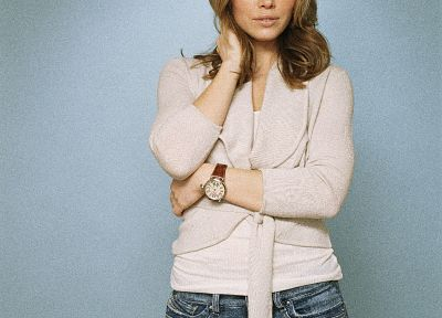 women, jeans, Jessica Biel, watches - desktop wallpaper
