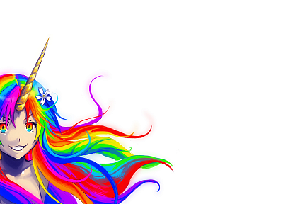 women, unicorns, rainbows - desktop wallpaper