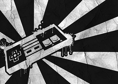 Nintendo, retro, grayscale, artwork, controllers - related desktop wallpaper