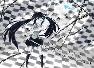 Black Rock Shooter, K-ON!, school uniforms, nekomimi, animal ears, Nakano Azusa, crossovers, knee socks - desktop wallpaper