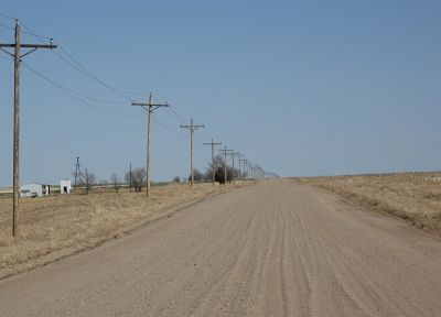 desert road, power lines - random desktop wallpaper