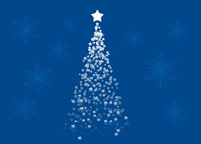 blue, stars, Christmas, Christmas trees, artwork - desktop wallpaper