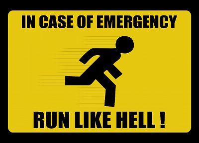 signs, funny, emergency, running - desktop wallpaper
