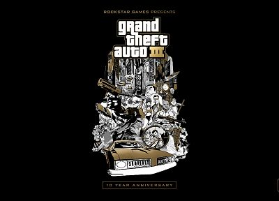 video games, gold, Grand Theft Auto, euro, Rockstar Games, black background, Grand Theft Auto III - desktop wallpaper