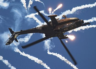 helicopters, vehicles, flares, AH-64 Apache - desktop wallpaper