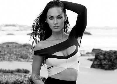 brunettes, tattoos, women, ocean, eyes, Megan Fox, actress, celebrity, monochrome, greyscale - related desktop wallpaper