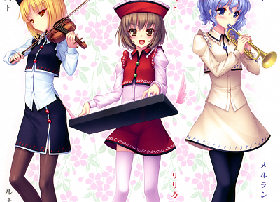 brunettes, blondes, video games, Touhou, music, flowers, text, blue eyes, keyboards, skirts, Japanese, brown eyes, blue hair, violins, short hair, thigh highs, yellow eyes, instruments, trumpets, smiling, blush, sisters, open mouth, kanji, vertical, hats, - related desktop wallpaper