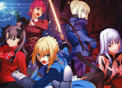 Fate/Stay Night, Tohsaka Rin, Type-Moon, Saber, Saber Alter, Dark Sakura, Fate series - related desktop wallpaper