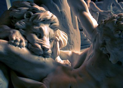 bite, men, sculptures, statues, lions - desktop wallpaper