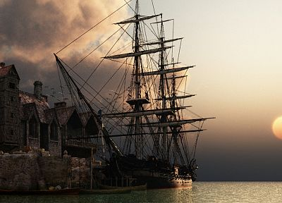 sunset, ocean, ships, sail ship, sails - related desktop wallpaper