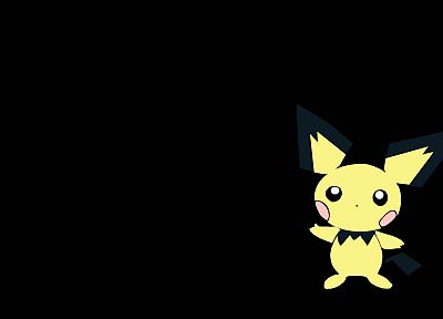 Pokemon, Pichu, simple background, black background - desktop wallpaper