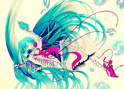 headphones, Vocaloid, Hatsune Miku, X-Ray, bones - desktop wallpaper