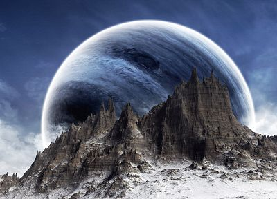 blue, mountains, clouds, snow, planets, science fiction - random desktop wallpaper