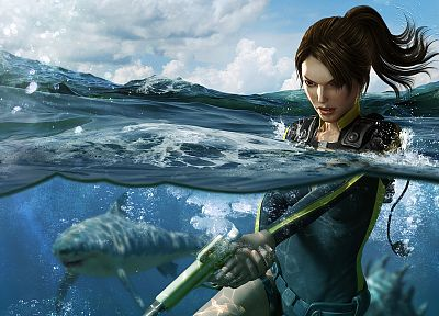 ocean, Lara Croft, sharks, ponytails, Tomb Raider: Underworld, split-view - random desktop wallpaper