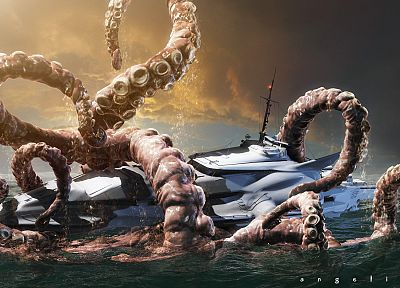 tentacles, Kraken, boats, vehicles - related desktop wallpaper