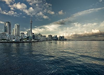 water, clouds, cityscapes, Canada, Toronto, Harbor, bay, CN Tower, harbours, Lake Ontario - desktop wallpaper