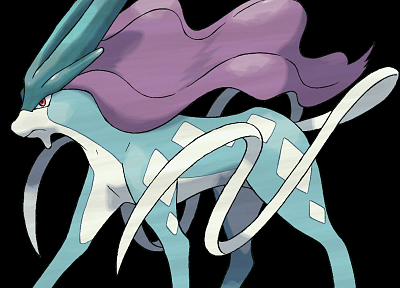 Pokemon, Suicune, black background - desktop wallpaper