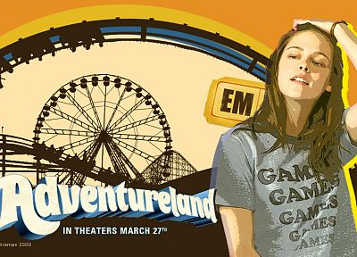women, Kristen Stewart, actress, celebrity, ferris wheels, movie posters, Adventureland - related desktop wallpaper