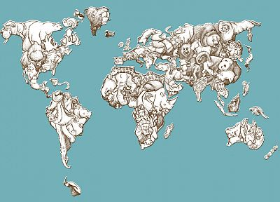 animals, maps, world map - related desktop wallpaper
