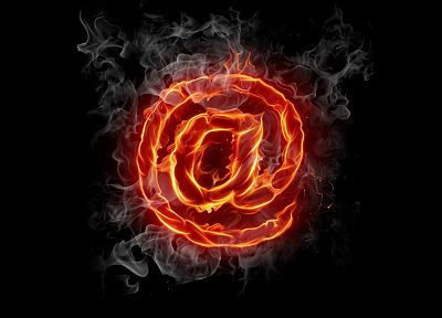 Internet, fire, symbol, typography, mail, black background - desktop wallpaper