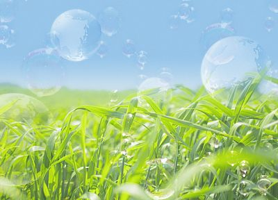 nature, grass, bubbles, photo manipulation - desktop wallpaper