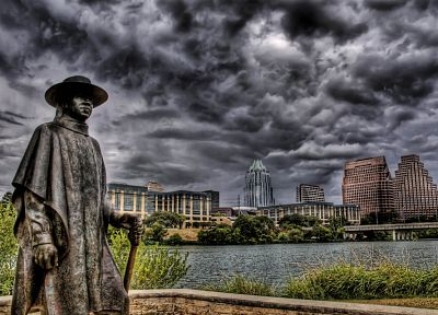 skylines, statues, HDR photography - desktop wallpaper
