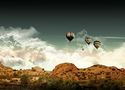 clouds, landscapes, deserts, hot air balloons, skyscapes, photo manipulation - related desktop wallpaper