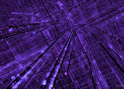 3D view, abstract, purple, grid - random desktop wallpaper