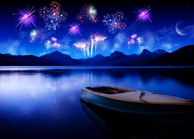 fireworks, ships, vehicles, lakes, photo manipulation - duplicate desktop wallpaper