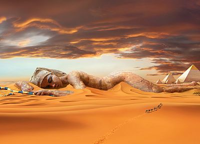 deserts, camels, Egyptian, digital art, pyramids - random desktop wallpaper