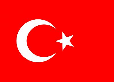 flags, Turkey, simple background, crescent - desktop wallpaper